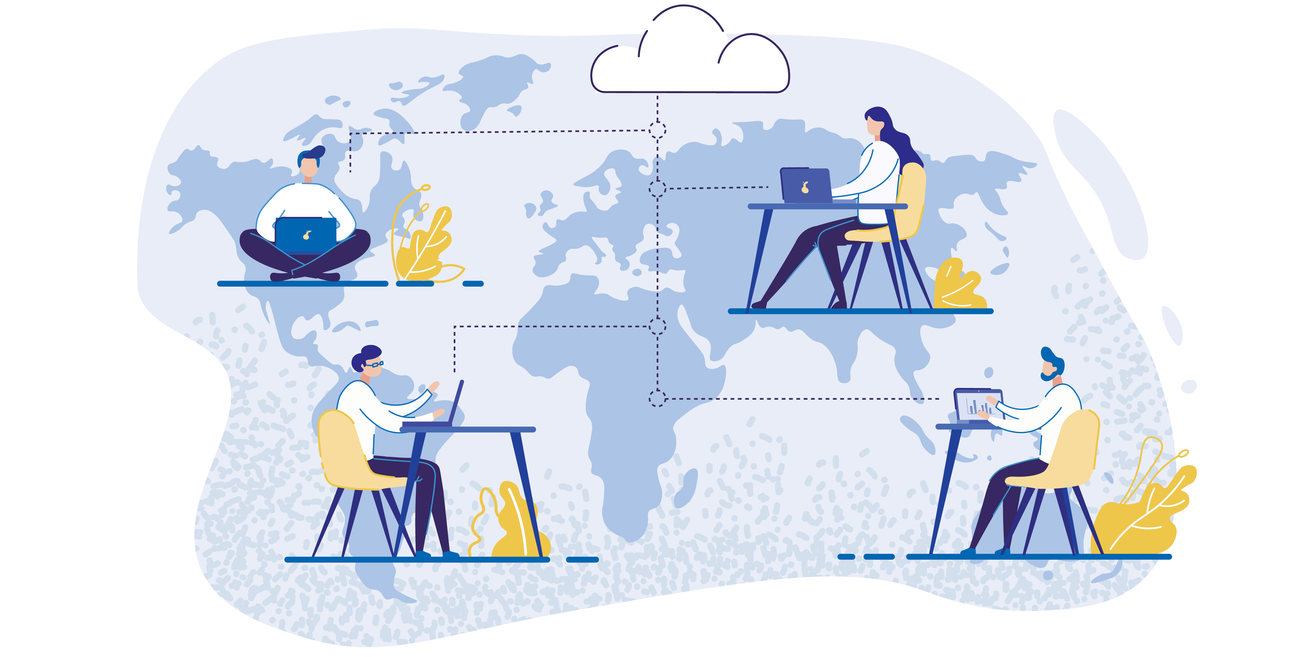 illustration of people working remotely