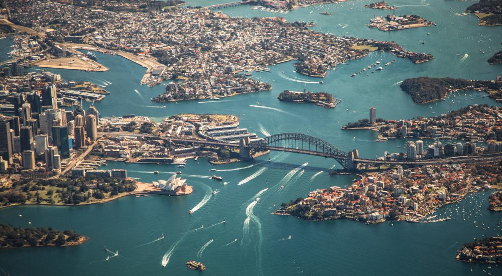 Overhead view of Sydney harbor