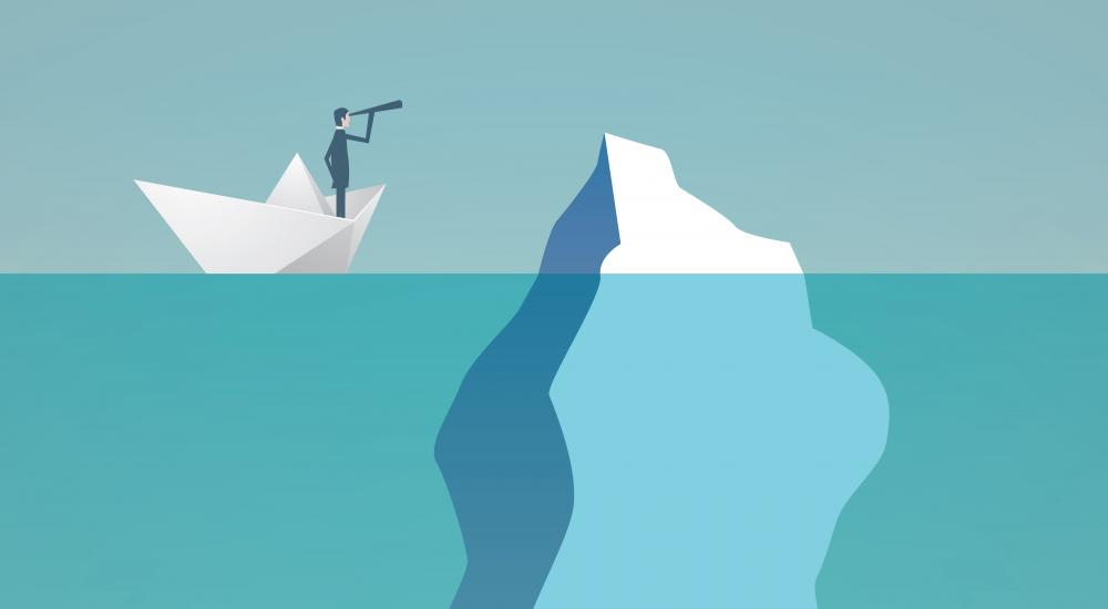 illustration of a man on a boat looking toward an iceberg