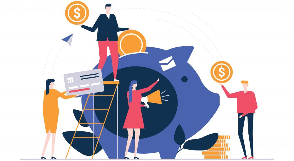 Illustration of people putting money into a piggy bank