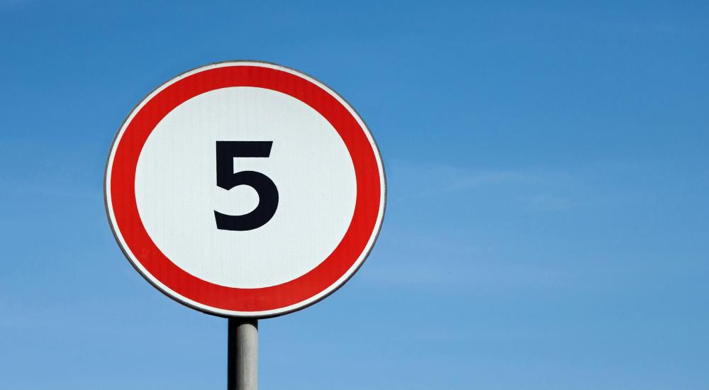 signpost with 5
