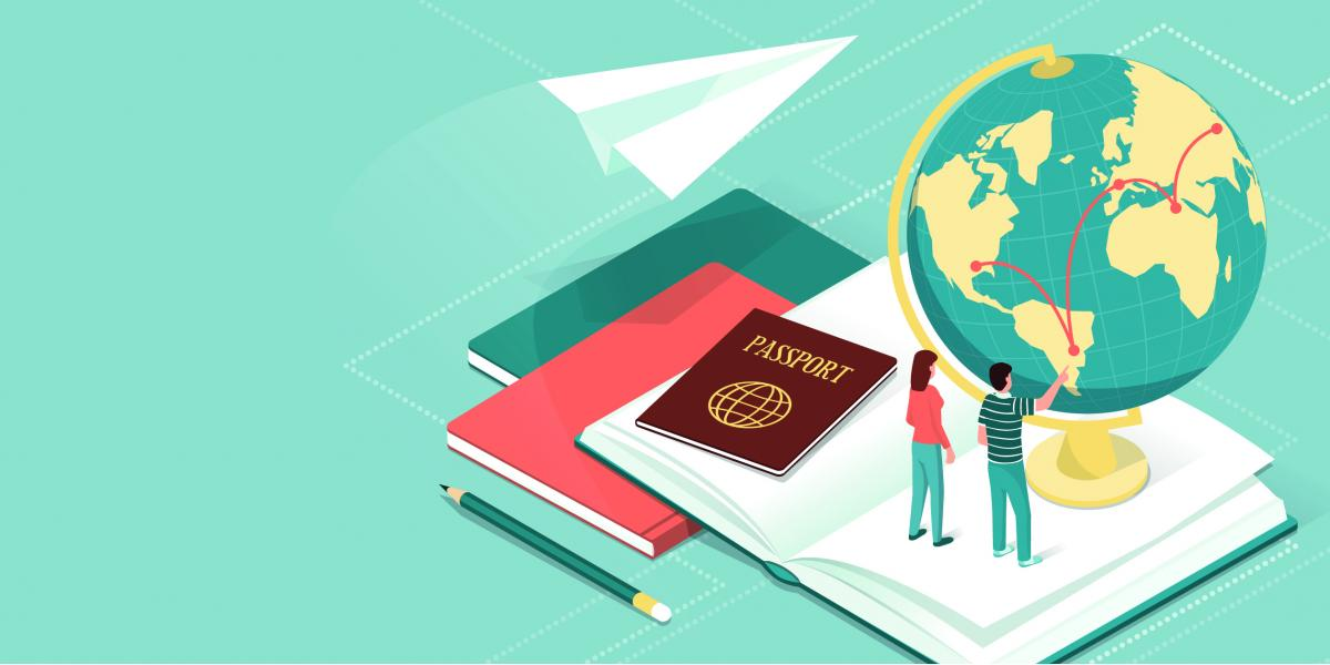 Illustration of a globe, paper airplane, books, and passport