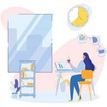 Illustration of a woman working from home